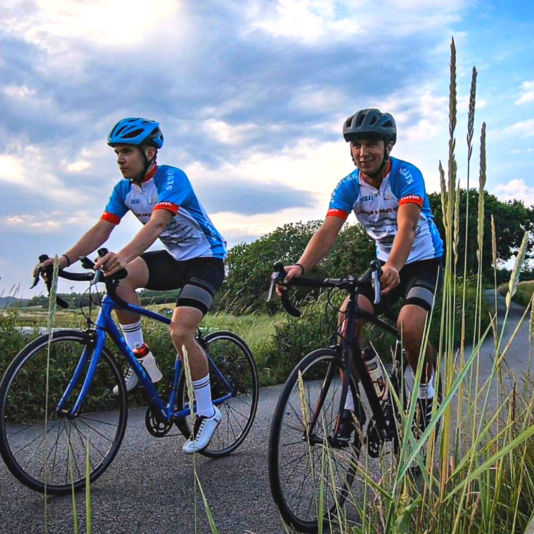 (l-r) Nicholas and Matthew Earley on the road during their Largs to East Cowes cycle challenge