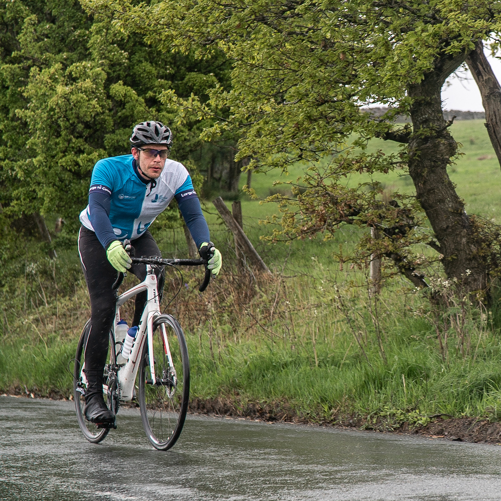 Mark Stevens, riding during the 2019 Largs to Cowes Cycle Challenge, was supported by the Trust after treatment for leukaemia