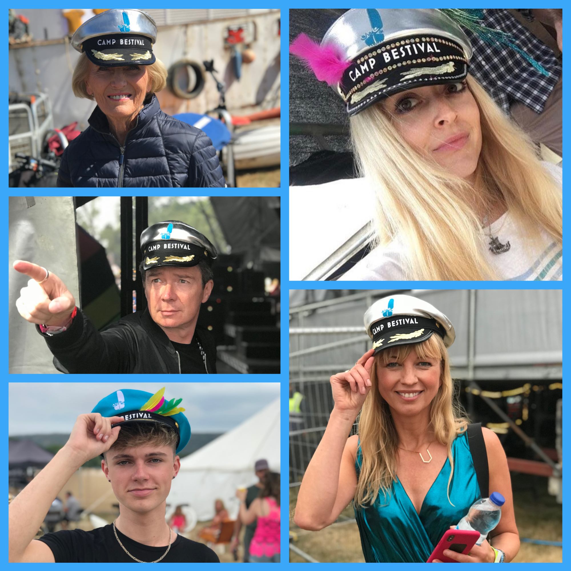 A collage of celebrities - Mary Berry, Rick Astley, Hrvy, Fearne Cotton and Sara Cox, wearing the Trust's limited edition Captain hats