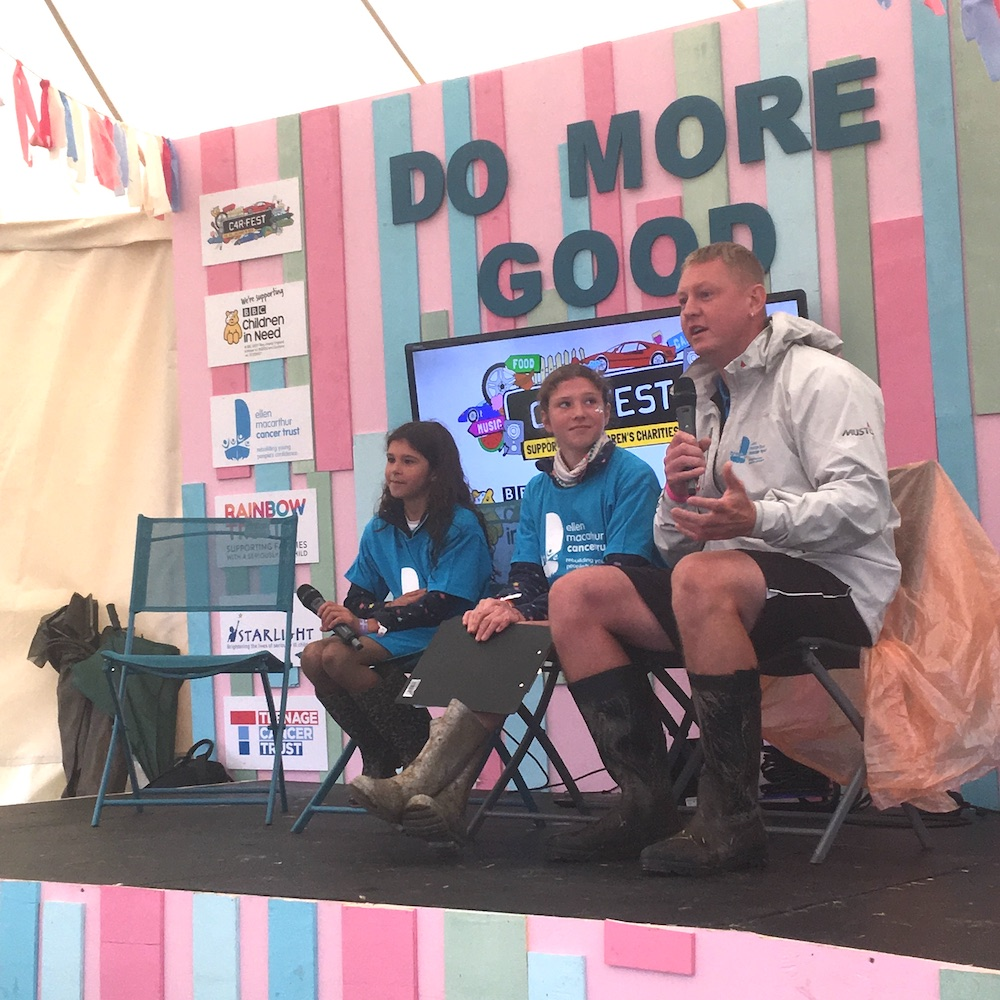 Trust skipper Dan Monk and the Williams sisters on stage talking about their Trust experiences at CarFest North 2019