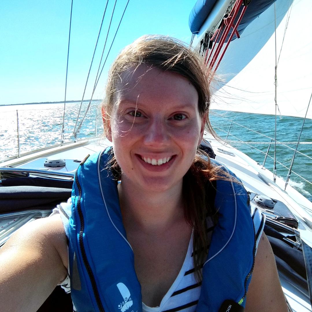 Selfie of Rachel Blackford sailing