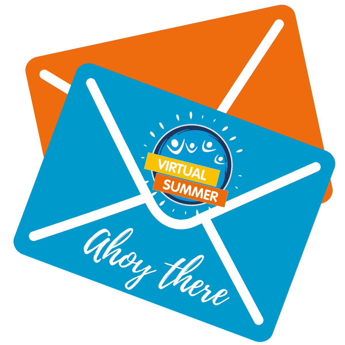 Graphic of two orange and blue envelopes with 'Ahoy there' written on them