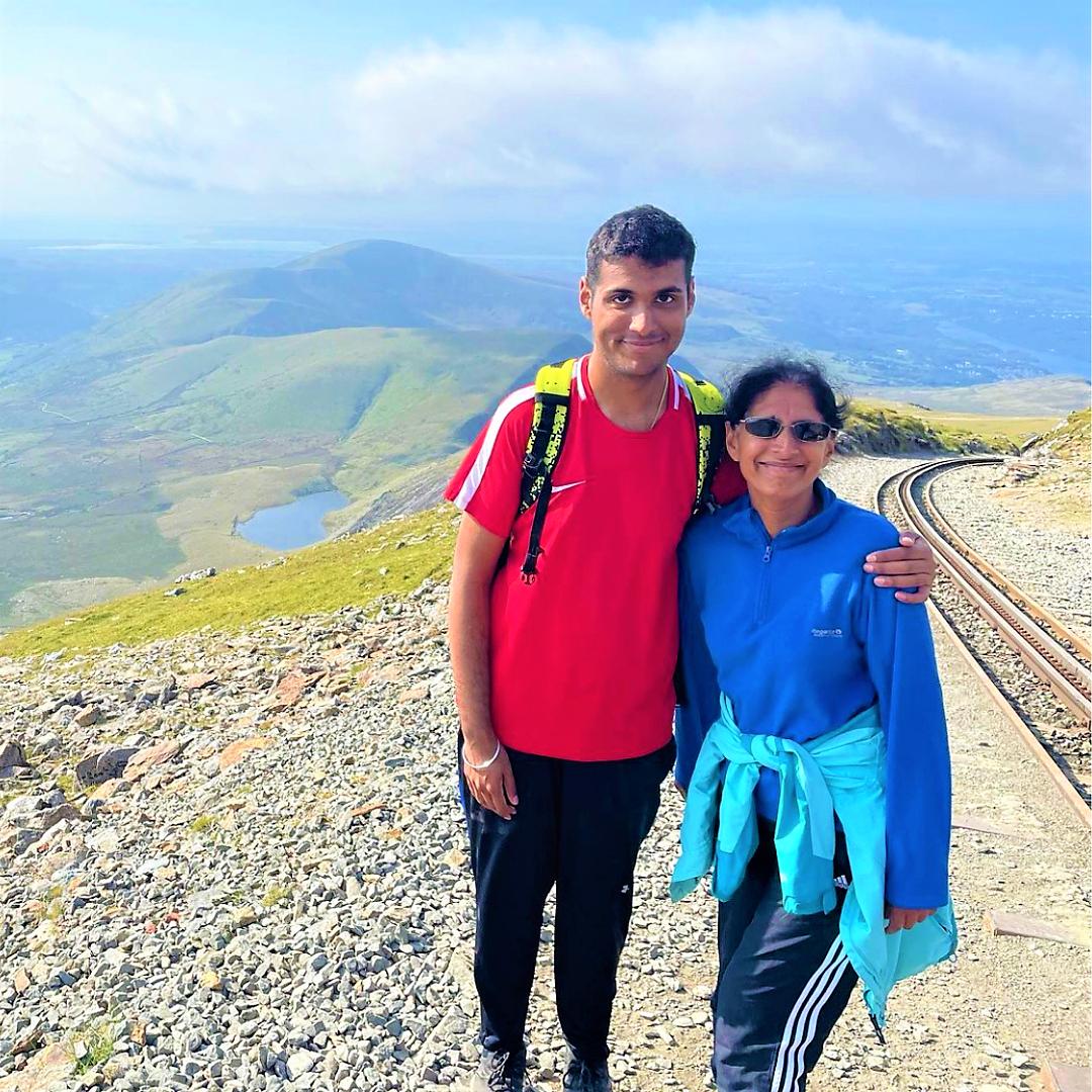 Bhav and his mum at the top of Snowdon