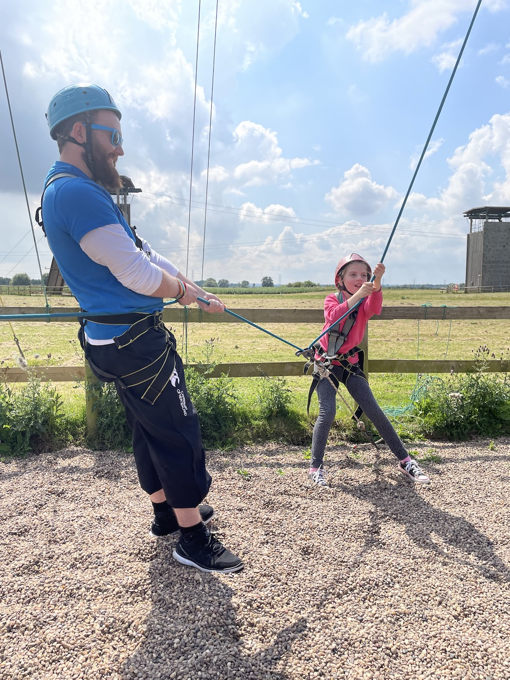 Volunteer Jonathan Roberts take the strain on the high ropes at Whitemoor Lakes' Taste of the Trust day