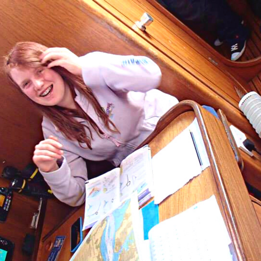 Steff at the chart table on her first Trusr trip