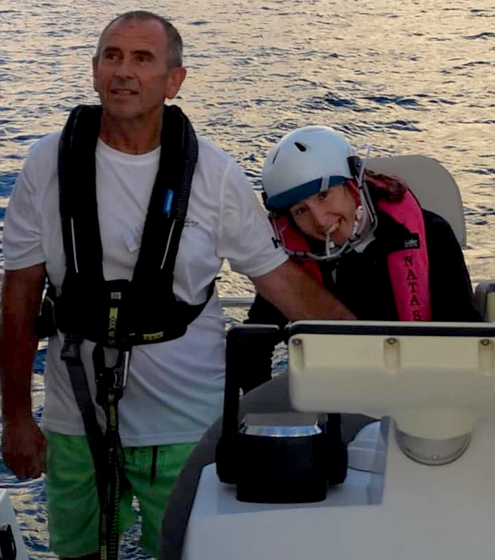 Natasha Lambert and her dad Gary after arriving at sunrise into St Lucia