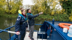 Mary Isherwood takes the helm on the Ellen MacArthur Cancer Trust's 2018 widening access canal boat trip