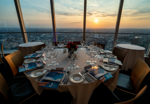 A beautiful sunset over London was viewed from 34th floor of the BT Tower