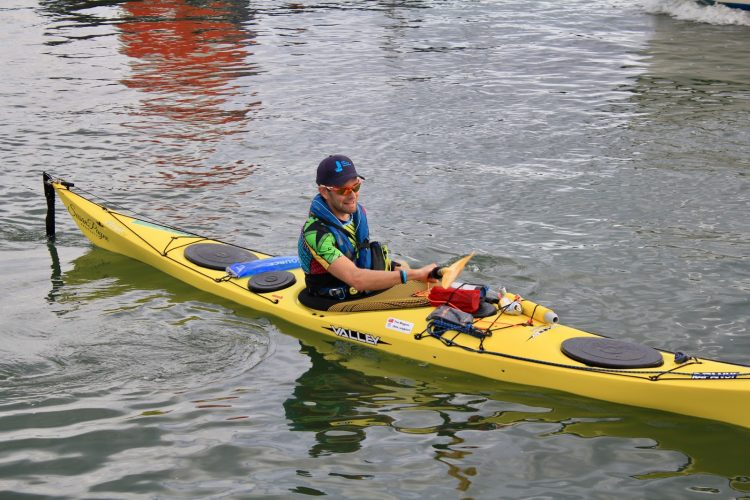 Tim Wiggins during his KayakRTI to raise money for the Trust on 27 July 2019