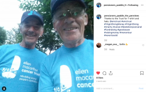 Pensioners Paddle The Pennines Instagram screen shot in Trust t-shirts