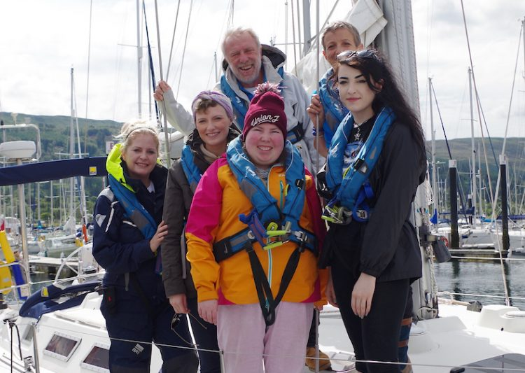 Skipper Simon Bradley with crew in Largs 2019