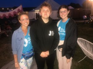 Lewis Capaldi wearing his Trust hoodie at Camp Bestival